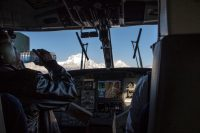 Drinking pilot on flight to Jomson, Nepal